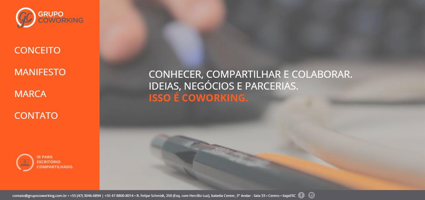 Imagem do site do Grupo Coworking