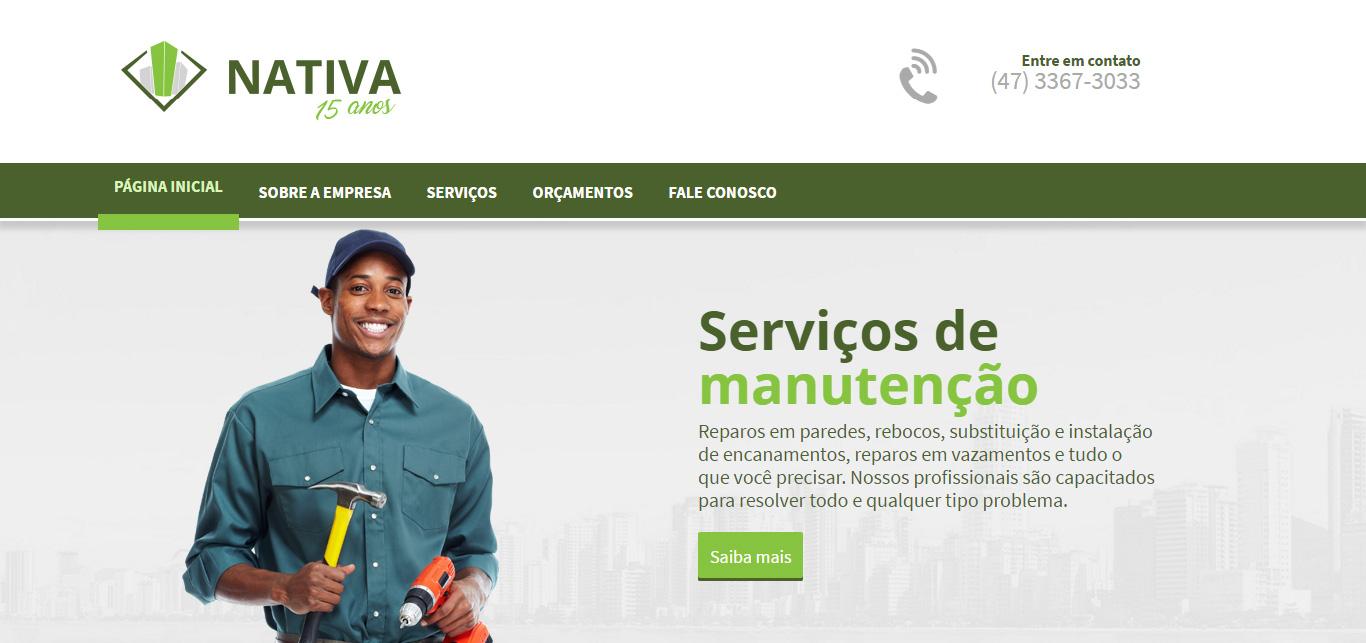 Imagem do site do site Nativa Serviços